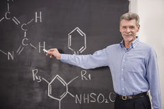 Professor. Of chemistry leading lecture in University stock photo