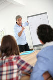 Professor in class having a presentation Royalty Free Stock Image