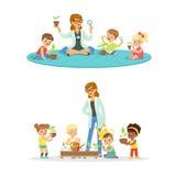 Professor com as crianças que aprendem sobre plantas durante a lição da biologia Ilustrações coloridas detalhadas desenhos animad ilustração stock