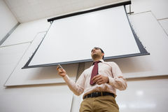 Professor com a tela de projeção no salão de leitura fotografia de stock royalty free