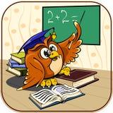 Professor da coruja na sala de aula da escola com o ponteiro em Imagem de Stock