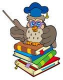 Professor da coruja que senta-se em quatro livros ilustração stock