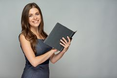Professor de sorriso que guarda o livro fotografia de stock