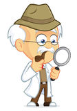 Professor Detective. Clipart Picture of a Professor Detective Cartoon Character Royalty Free Stock Photo