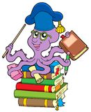 Professor do polvo na pilha dos livros Fotos de Stock