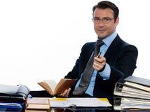 Professor do professor do homem de negócio que beckoning apontar imagens de stock royalty free