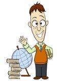 Professor dos desenhos animados com livro Fotografia de Stock