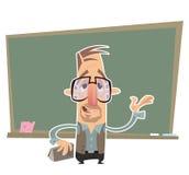 Professor que apresenta na frente de um quadro-negro Foto de Stock