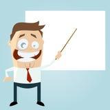 Professor dos desenhos animados com uma placa vazia Fotografia de Stock