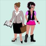 Professor e partido-frequentador ilustração stock