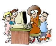 Professor e três estudantes ilustração royalty free