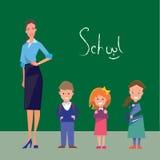 Professor e três estudantes de categorias preliminares ilustração royalty free