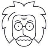 Professor einstein, forskare, onormal vektorlinje symbol, tecken, illustration på bakgrund, redigerbara slaglängder royaltyfri illustrationer