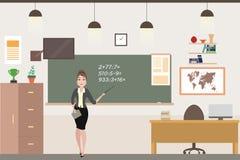 Professor fêmea caucasiano dos desenhos animados no interior da sala de aula da escola ilustração do vetor