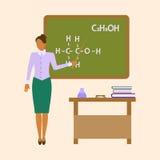 Professor fêmea da química da escola ilustração do vetor