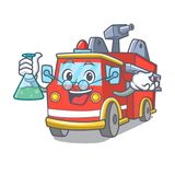 Professor fire truck character cartoon. Vector illustration Stock Photography