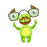 Professor Funny Monster With Beard And Glasses, Green Alien Emoji Cartoon Character Sticker Royalty Free Stock Photos