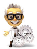 Professor with gear symbol Royalty Free Stock Image