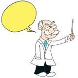 Professor - gelbe Sprache-Blase - weißer Hintergrund stockbilder