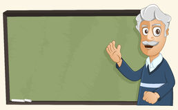 Professor is giving a lesson. Professor is teaching using the chalkboard Royalty Free Stock Image