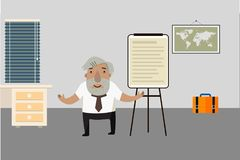 Professor-historiador na sala Carta de aleta Caráter animado Ilustração do vetor Personagem de banda desenhada Fotografia de Stock Royalty Free