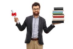 Professor holding a diploma and a stack of books. Isolated on white background royalty free stock image
