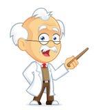 Professor Holding en pekarepinne royaltyfri illustrationer