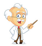 Professor Holding a Pointer Stick. Clipart Picture of a Professor Cartoon Character Holding a Pointer Stick Stock Photos