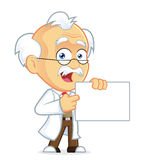 Professor Holding a sign. Clipart Picture of a Professor Cartoon Character Holding a sign Stock Photography