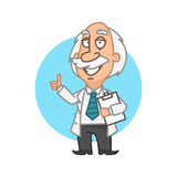 Professor holding tablet and showing thumbs up Royalty Free Stock Photography