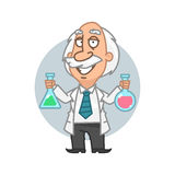 Professor holding tubes with chemical elements Royalty Free Stock Photography
