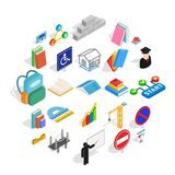 Professor icons set, isometric style. Professor icons set. Isometric set of 25 professor vector icons for web isolated on white background Stock Image