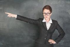 Professor irritado que indica Fotografia de Stock