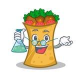 Professor kebab wrap character cartoon. Vector art royalty free illustration