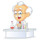 Professor in the Laboratory. Clipart Picture of a Professor Cartoon Character in the Laboratory Stock Photography