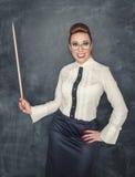 Professor louco com ponteiro de madeira Fotografia de Stock Royalty Free