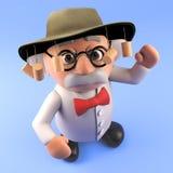 Professor louco do cientista que veste um chapéu australiano do arbusto, ilustração 3d
