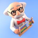 Professor louco inteligente do cientista que guarda um ábaco, ilustração 3d