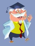 Professor masculino carnudo dos desenhos animados em uma veste e em um tampão Imagens de Stock