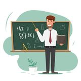 Professor masculino com o ponteiro na lição no quadro-negro na sala de aula Foto de Stock Royalty Free
