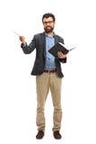 Professor met een houten stok en een boek stock foto