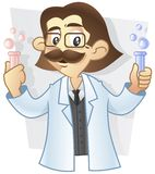 Professor met zijn experiment Stock Foto's