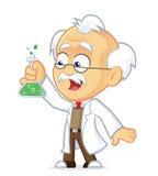 Professor mit Laborglas Stockfoto