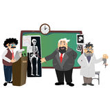 Professor near the blackboard with formulas at university lecture, teacher in class at lesson teaches students, higher Royalty Free Stock Images