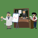 Professor near the blackboard with formulas at university lecture, teacher in class at lesson teaches students, higher Royalty Free Stock Photo