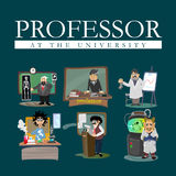 Professor near the blackboard with formulas at university lecture  Royalty Free Stock Photography
