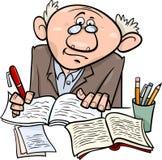 Professor- oder Verfasserkarikaturillustration Stockfotos