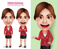 Professor ou mulher de negócios profissional bonita Vetora Character Smiling Imagem de Stock Royalty Free