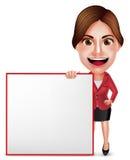 Professor ou mulher de negócios Vetora Character Talking que guarda a placa branca Imagens de Stock Royalty Free