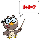 Professor owl holding a pointer stick Royalty Free Stock Image